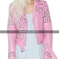 Women's Brando Pink Studded Spikes Motorcycle Leather Jacket
