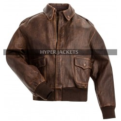 Men's A2 Aviator USAAF Air Force Pilot Brown Bomber Leather Jacket