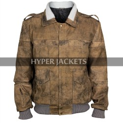 Pilou Absaek Ghost In The Shell Batou Fur Collar Bomber Leather Jacket