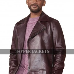 Bad Boys For Life Premiere Will Smith Burgundy Biker Leather Jacket