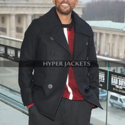 Will Smith Bad Boys For Life Event Mike Lowrey Black Wool Pea Coat