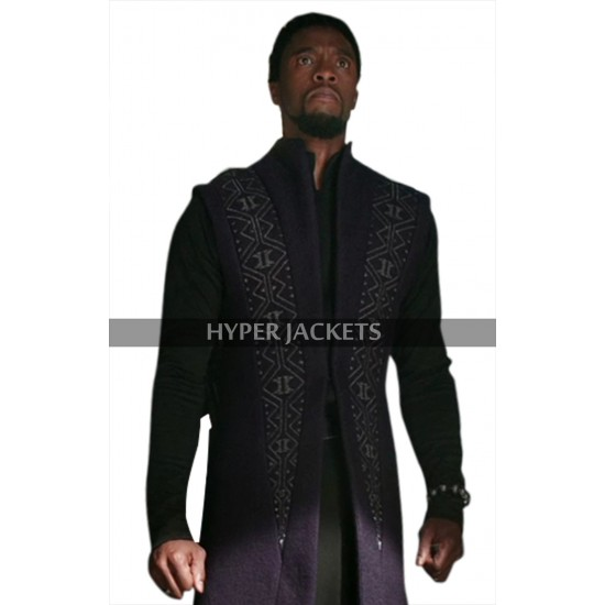 Black Panther Avengers Infinity War T'Challa Navy Blue Wool Trench Coat