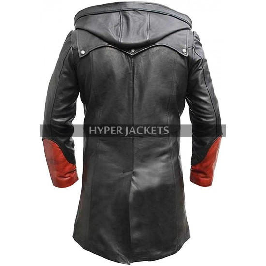 DMC 4 Devil May Cry Dante Cosplay Costume Black & Red Leather Coat