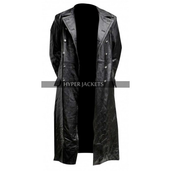 German Classic Military Officer Black Leather Long Trench Coat