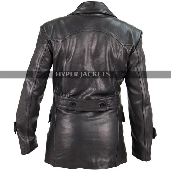 German Classic Black Leather Trench Coat