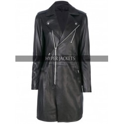 Womens Slim Fit Long Length Lapel Collar Black Leather Trench Coat