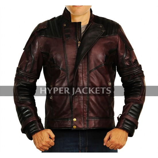 Star Lord Avengers Infinity War Peter Quill Costume Maroon Leather Jacket
