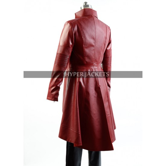 Captain America Civil War Scarlet Witch Outfit Wanda Maximoff Red Leather Coat