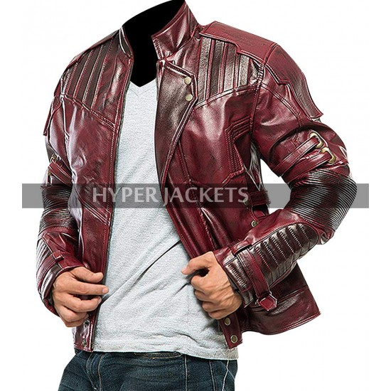 Star Lord Guardians Of Galaxy Vol 2 Chris Pratt Maroon Costume Leather Jacket