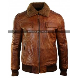 Men's Vintage Motorcycle Aviator Removable Fur Collar Rust Brown Bomber Leather Jacket