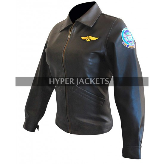 Kelly McGillis Top Gun Charlie Blackwood Biker Black Leather Jacket