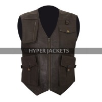 Chris Pratt Jurassic World Fallen Kingdom Owen Grady Biker Brown Leather Vest