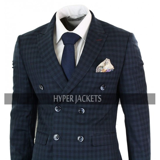 Vintage 1920s Mens Checkered Style 2 Piece Double Breasted Blue Suit