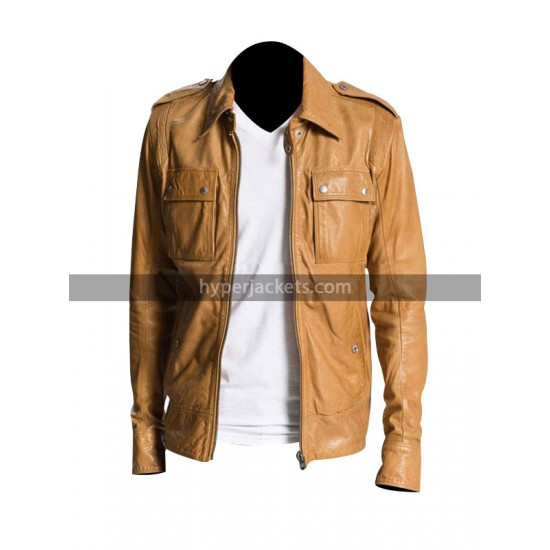 End of Watch 50 Cent Lisardo Tan Brown Field Leather Jacket