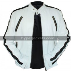 Need For Speed Movie NFS Tobey Marshall White Biker Leather Jacket