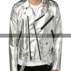X-Men Days Of Future Past Quicksilver Evan Peters Silver Leather Jacket