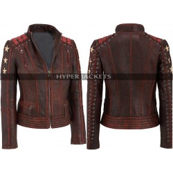 Womens Vintage Cafe Racer Biker Motorcycle Distressed Leather Jacket