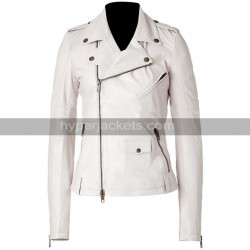 Keeley Hawes Ashes to Ashes Alex Drake Motorcycle White Leather Jacket