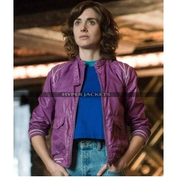 Glow Alison Brie Ruth Wilder Purple Bomber Leather / Parachute Jacket
