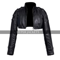 Caity Lotz Black Canary Arrow Laurel Lance Crop Leather Jacket