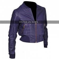 Rose Tyler Doctor Who Billie Piper Purple Bomber Slim Fit Leather Jacket