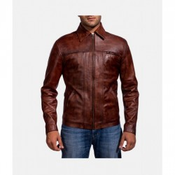 Abstract Maroon Leather Jacket For Men's