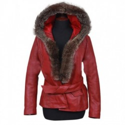 Mrs Claus Red Leather Coat