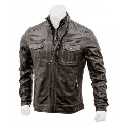 Vintage Distressed Leather Jacket Mens Cafe Racer