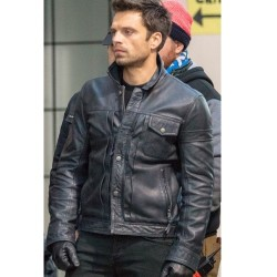 Bucky Barnes The Falcon and the Winter Soldier 2021 Black Leather Jacket