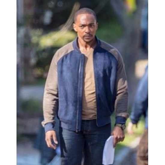 Anthony Mackie The Falcon and the Winter Soldier 2021 Sam Wilson Brown & Blue Bomber Jacket