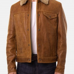 Shearling Collar Brown Leather Trucker Jacket