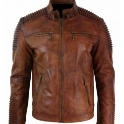 Brown Distressed Leather Jacket for Mens Cafe Racer