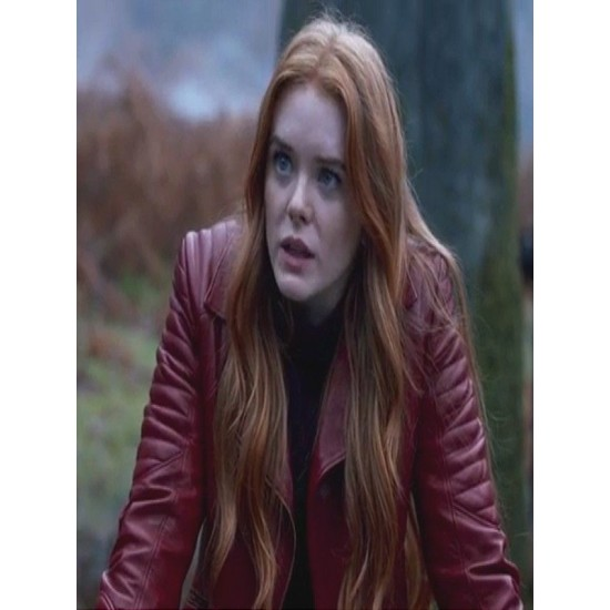 ABIGAIL COWEN RED LEATHER JACKET FATE THE WINX SAGA