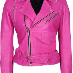 Special Womens Hot Pink Biker Leather Jacket